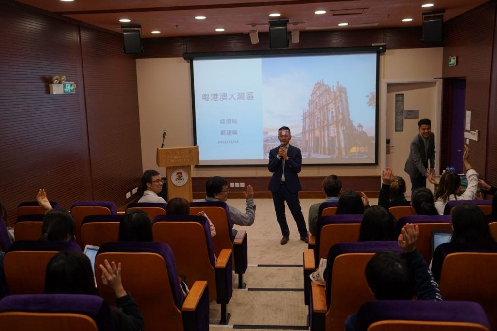 Director of Macao Economic Bureau Mr. Tai Kin Ip gave a talk in CYTC, encouraging students to seize opportunities with the development of the Bay Area
