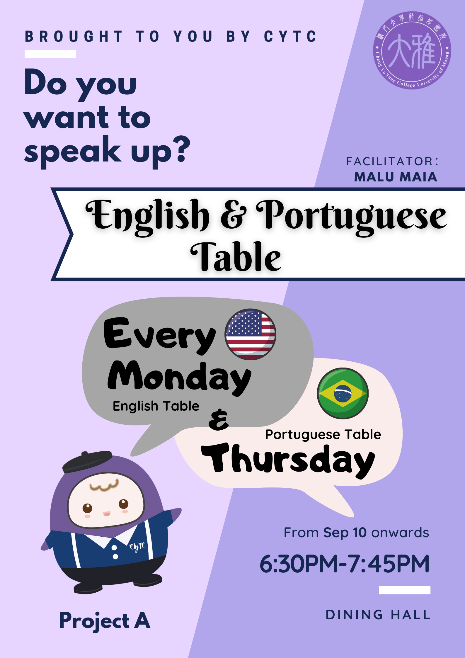 Project A: English & Portuguese Table